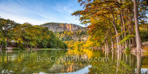 Garner State Park, Frio River, autumn, bald cypress, texas hill country, fall, old baldy, river, water, reflections, golden, rusty, cypress, hill country, pano, panorama,