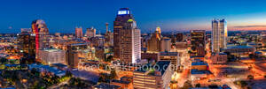San Antonio Skyline, Night, Panorama, pano, Frost Tower, Marriott, Grand Hyatt, Tower of the Americas, hemisphere, drury hotel, downtown, San Antonio, texas, Frost, building, cityscape, city, urban, s