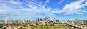 Dallas, skyline, cityscape, city, downtown, urban, cities, skyscraper, buildings, taller, modern, I30, Trinity River, bridges, bridge, pano, panorama,  pedestrian, bike path, Margaret Hunt Hill Bridge