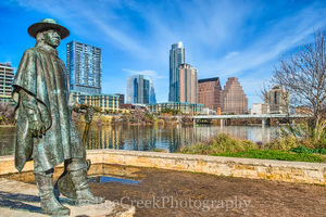 Stevie Ray Vaughn with Austin Skyline, Stevie Ray Vaughn, statue, ladybird lake, skyline, city, cityscape, skies, hike and bike trail, high-rise, Frost, Colorado Towers, austin skylines, austin citysc