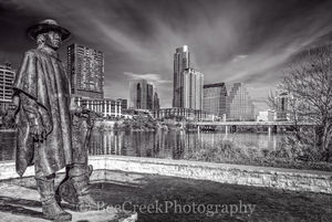 Stevie Ray Vaughn BW, Austin skyline, stevie ray vaughn statue, black and white, bw, skyline, cityscape, city, texas, auditorium shores, downtown, austin, capital of texas, capital, austin cityscape,