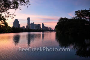 Austin skyline, Lou Neff Point, Lou Neff, architecture, sunrise, pinks, violets, purple, Lady Bird Lake, water, reflections, buildings, skyscrapers, 2019, Austonian, Independent, Google, Zilker Park,