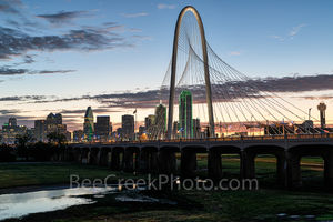 Dallas, Margaret Hunt Hill Bridge, dallas tx, downtown dallas, dallas skyline,  bridge, skyline, glow, sunrise, cityscape, bank of america, reunion tower, skyscrapers, Continental Avenue bridge, Ron K