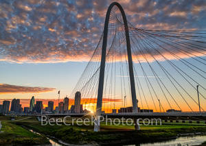 Dallas, sunrise, sun burst, Margaret Hunt Hill Bridge, downtown dallas, city of dallas, dallas skyline, dallas texas, landmark, clouds, color, pink, orange, iconic, city,