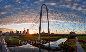 Dallas, sunrise, sun burst, morning, Margaret Hunt Hill Bridge, skyline, cityscape, clouds, color, pink, orange, iconic, bridge, 201, cities, city, panorama, pano,