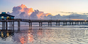 texas, port aransas, tx, pier, caldwell pier, texas coast, gulf of mexico, sunrise, sunset, port a, pelicans, clouds, orange, pink, color, beach, fishing, dawn, tide, surf, central texas coast, reflec