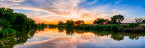 Texas Hill Country River Sunset Pano