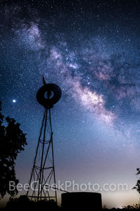 texas, windmill, water tank, prickly pear cactus, silouette, milky way, night sky, stars, galaxy, texas hill country, celestial, vertical, starry night, night, dark sky, dark skies, star, starscapes,
