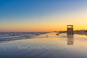 port aransas, beach, dusk, blue hour, texas coast, tide, water, surf, gulf of mexico, life guard stand, life guard tower, waves, blue water, blue sky, orange, yellow, pelicans, texas seashore, beaches