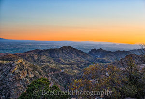 Tucson, city, skyline, cityscape, desert southwest, landscape, landscapes, fine art, urban, landscape, Arizona, sunset, Sunset Santa Catalinas Mountains, city lights,  mountains, road, vista, Cityscap