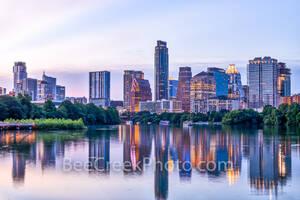 Austin Skyline, Violet Crown, austin, skyline, pics of texas, boardwalk, violet, purple, pink, lavender, sunset, blue hour, buildings, reflections, water, lady bird lake, urban, urban landscape, city,