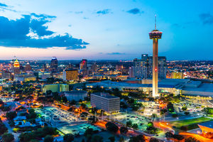 San Antonio skyline, San Antonio, cityscape, twilight, aerial, Tower of America, Tower Life, Frost Bank, building, Drury Hotel, Grand Hyatt, George Gonzales, convention center, historic, landmark,