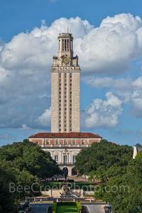 Austin, UT Tower, Landmark, Littlefield Fountain, daytime, cityscape, tourist, city, campus, university of texas, downtown, blue sky, clouds, vertical, tall,