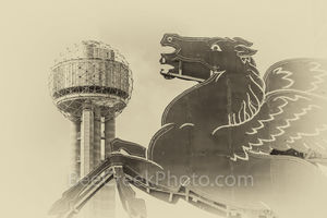 Dallas Pegasus with Reunion Tower, Dallas, pegasus, reunion tower, iconic, downtown, city, landmarks, vintage, sepia, Dallas, city, Dallas stock photos,