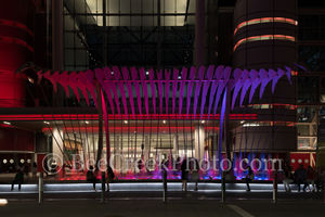 Houston, George Brown convention center, Wings Over Water, sculpture, downtown, street scene, lifestyles, city life, urban, art, pink, purple,