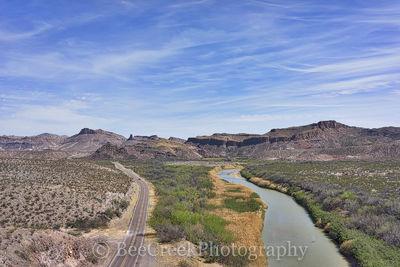 Big Bend State Park, Mountains, Rio Grande River, aerial, blue sky, landscape, mexico, scenic,