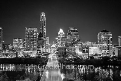 Austin skyline, black and white, b w, texas capitol, Ann Richards Congress Bridge, Austin, frost, Austonian, highrise, downtown,