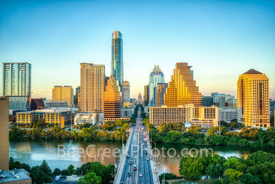 Austin skyline, aerial, capitol, capital, downtown, skyline, city, cityscape, Congress Ave, high-rise, buildings, Frost, Austonian, One Congress Plaza, Radisson, One Congress Plaza, Ashton Condos, One