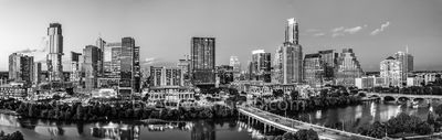 Aerial, Austin Skyline twilight, Austin, skyline, aerial, black and white, bw, lady bird lake, hike and bike trail, cityscape, water, pano, panorama, tallest building, Independent