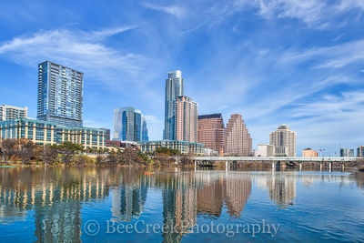 Austin, buildings, canoe, cities, cityscapes, day, downtown, reflections, shoreline, skylines, skyscrapers, urban, view, wispy clouds. city,