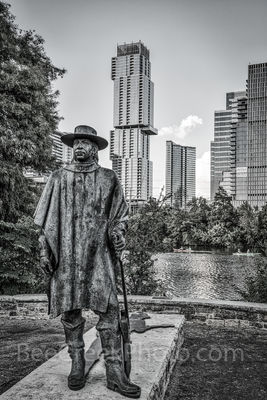 Austin, Stevie Vaughan statue, BW, black and white, bronze, Independent, Jingle, high rise, skyscraper, Lady Bird Lake, Butler hike and bike trail, blues, guitar, rock and roll hall of fame, music,