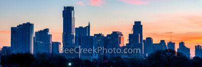 Austin Sunrise Skyline From Zilker Park Pano