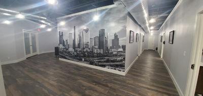 Houston skyline BW Wall mural install, 15'x9'