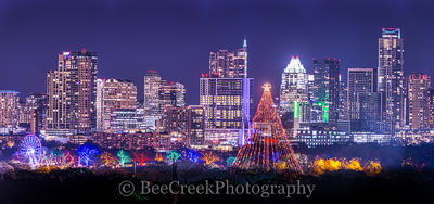 Austin, Zilker Christmas tree, pano, panorama, cityscapes, colorful, festive, holiday, skyline, skylines, trail of lights, austin skylines, austin cityscapes