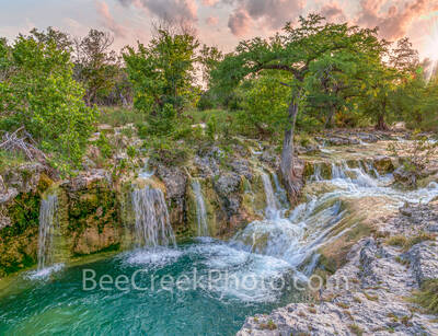 texas hill country waterfall. waterfall, falls, rocky, limestone, outcrop, hill coutry, sunset, landscape, rains, water, waterscape, blue green, aqua, spring, picture of waterfalls, texas hill country