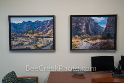 Photos on the wall in office. big bend park,