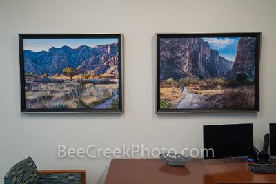 "Photos of Big Bend in Office at car dealer, 20""x30"" framed Canvas."