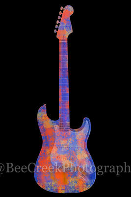 Electric Guitar Abstract on Black Vertical