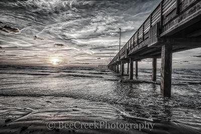 Sunrise, beach, black and white, clouds, coast, coastal, fishing pier, gulf, sand, surf, texas, texature, wooden, gulf cost images, Texas beaches