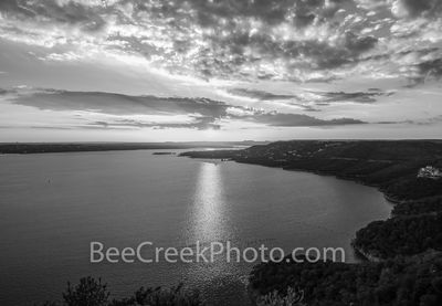 Lake Travis sunset, scenic,  Lake Travis, Oasis, images of Lake Travis, photos of Lake Travis, picture of Lake Travis, landscape, pictures of lake travis, Austin,  picture of austin, black and white,