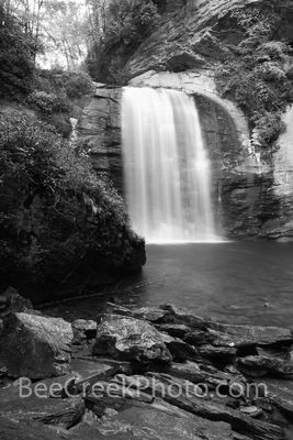 looking glass falls, black and white, B W, waterfalls, waterfall, falls, stream, rocks, slate, granite, geology, looking glass rock, 60 ft waterfall, creek, pisgah national forest, smoky national fore