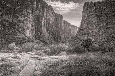 Santa Elena Canyon Path BW