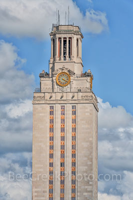 Austin, UT, UT Tower, day, daytime, downtown, cityscape, close up, landmark, clock, blue sky, clouds,