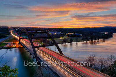 Austin, Texas, Austin Texas, Austin 360 bridge, Pennybacker bridge, 360 bridge, dark, sunset, Lake Austin, texas hill country,  hill country,  rivers, glow, downtown austin,