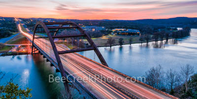 Austin, Austin 360 bridge, Pennybacker bridge, 360 bridge, night, dark, sunset, Lake Austin, texas hill country,  hill country,  images of texas, river,