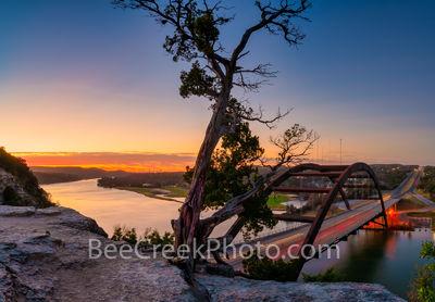 Texas, Austin,  Austin 360 bridge, pennybacker bridge, Austin Texas, Downtown Austin, urban, Lake Austin, colorado river, sunrise, glow, boating, fishing, cliff,