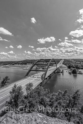 Austin Texas, 360 Bridge, Pennybacker Bridge, 360 hwy, texas hill country, lake austin, downtown austin, city of austin, hill coutry, Capital of Texas Highway, pennybacker overlook, black and white,ve