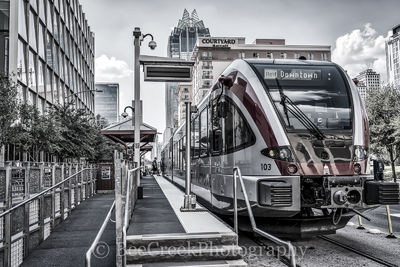 Austin, cityscape, rail, metro, train, mass transit, city, downtown, Frost Tower, Convention Center, cities, black and white, Marriott, Westin, modern, urban, , austin skylines, austin cityscapes