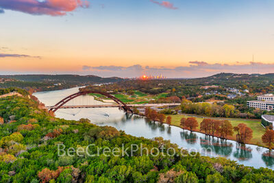 texas, austin texas, austin pennybacker bridge, austin 360 bridge, austin tx, city of austin, lake austin, 360 bridge, sunset,  bald cypress, fall, autumn, reflections, austin skyline, downtown austin