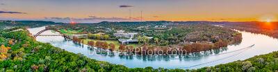Austin Pennybacker Bridge Sunset Pano