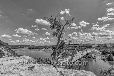 Austin Pennybacker Overlook, Austin 360 Bridge, Pennybacker bridge, capitol of texas highway, texas hill country, lake austin, austin texas, black and white, bw,