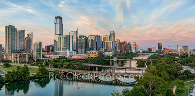 Austin skyline, aerial, drone, sunset, pics of texas, pics of austin, lamar bridge, lady bird lake, clouds, pink, orange, sky, clouds, hike and bike trail, architecture, urban landscape, bridges,