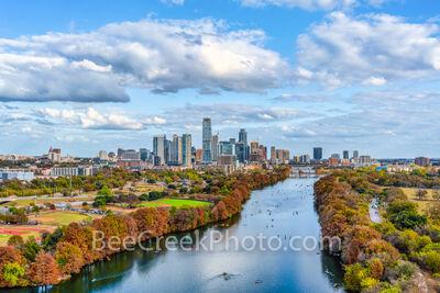 Austin Skyline Along Lady Bird Lake in Fall