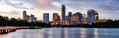Austin, Skyline, Austin skyline, Texas, pics of Texas,Texas skylines, images of Austin, urban landscape, city, downtown, skyscrapers, color, dusk, clolor, sunset, boardwalk, hike and bike trail, lady