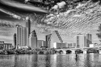 Austin, skylines, cityscapes, view, day, wispy clouds. city, downtown, skyscrapers, cities, urban, view, reflections, buildings, canoe, shoreline, , austin skylines, austin cityscapes