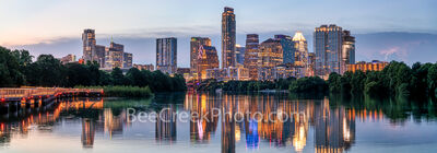 texas, austin skyline, downtown austin, austin downtown, twilight, architecture, city, ladybird lake, landscape, reflection, panorama, pano, panoramic,